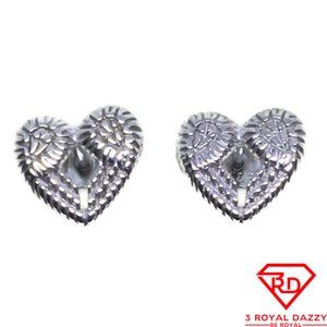 Tiny Hollow Heart stud Earrings White gold layer